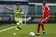 Forest Green Rovers Liam Shephard(2) passes the ball forward during the EFL Sky Bet League 2 match between Forest Green Rovers and Scunthorpe United at the New Lawn, Forest Green, United Kingdom on 7 December 2019.