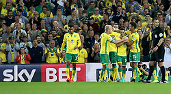 Norwich City celebrate their opening goal against Bristol City - Mandatory by-line: Robbie Stephenson/JMP - 16/08/2016 - FOOTBALL - Carrow Road - Norwich, England - Norwich City v Bristol City - Sky Bet Championship