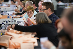 © Licensed to London News Pictures . 07/05/2015 . Doncaster , UK . Ballots are counted . The count for the 2015 General Election in Labour Party leader Ed Miliband's constituency of Doncaster North , at Doncaster Racecourse . Photo credit : Joel Goodman/LNP