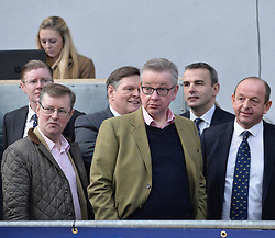 Pictured: Michael Gove MP at tje champion Aberdeen Angus judging.<br /> <br /> Westminster Rural Affairs Secretary Michael Gove MP visited the bull sales in Stirling, where he met farmers and watched the auction.<br /> <br /> <br /> <br /> &copy; Dave Johnston/ EEm