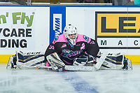 KELOWNA, CANADA - OCTOBER 21: Roman Basran #30 of the Kelowna Rockets stretches on the ice during warm up against the Kelowna Rockets on October 21, 2017 at Prospera Place in Kelowna, British Columbia, Canada.  (Photo by Marissa Baecker/Shoot the Breeze)  *** Local Caption ***