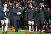 Manchester United's Manager Louis van Gaal after the The FA Cup match between Cambridge United and Manchester United at the R Costings Abbey Stadium, Cambridge, England on 23 January 2015. Photo by Phil Duncan.