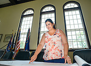 Chalfont Borough Manager Sandra Brookley Zadell looks over a map in borough hall   Thursday June 10, 2015 in Chalfont, Pennsylvania.  (Photo by William Thomas Cain/Cain Images)