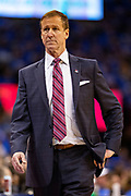 OKLAHOMA CITY, OK - APRIL 21: Head Coach Terry Stotts of the Portland Trail Blazers on the bench during a game against the Oklahoma City Thunder during Round One Game Three of the 2019 NBA Playoffs on April 21, 2019 at Chesapeake Energy Arena in Oklahoma City, Oklahoma  NOTE TO USER: User expressly acknowledges and agrees that, by downloading and or using this photograph, User is consenting to the terms and conditions of the Getty Images License Agreement.  The Trail Blazers defeated the Thunder 111-98.  (Photo by Wesley Hitt/Getty Images) *** Local Caption *** Terry Stotts