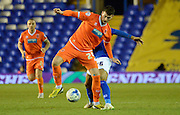 Gary Madine on the ball during the Sky Bet Championship match between Birmingham City and Blackpool at St Andrews, Birmingham, England on 4 March 2015. Photo by Alan Franklin.