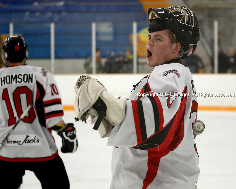 STOUFFVILLE, ON - Feb 6 : Ontario Junior Hockey League Game Action between the Stouffville Spirit Hockey Club and the Aurora Tigers Hockey Club.  Tim Bester #33 of the Stouffville Spirit Hockey Club celebrates the goal during third period game action.<br /> (Photo by Michael DiCarlo / OJHL Images)