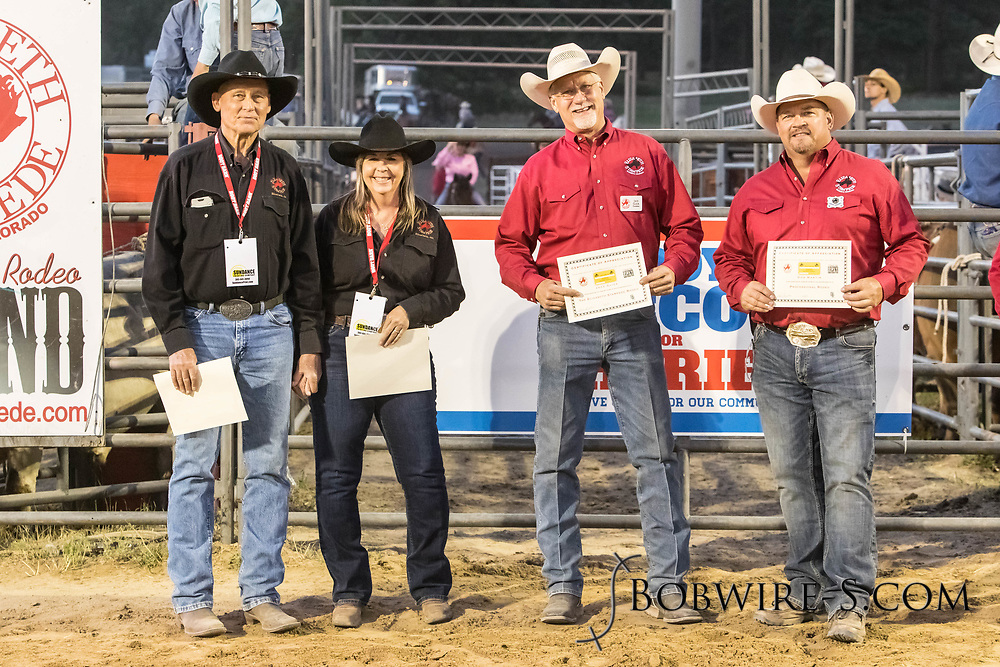 Long-time members of the PRCA are awarded their Gold Cards during the second performance of the Elizabeth Stampede on Saturday, June 2, 2018.