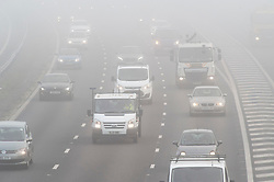 © Licensed to London News Pictures. 22/02/2019. Swanley, Heavy foggy weather this morning on the M25 at Swanley J3 in Kent.  Photo credit: Grant Falvey/LNP