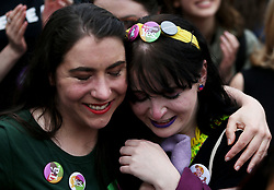 People react at Dublin Castle as the official results of the referendum on the 8th Amendment of the Irish Constitution are announced in favour of the yes vote. Picture date: Saturday May 26, 2018. See PA story IRISH Abortion. Photo credit should read: Brian Lawless/PA Wire
