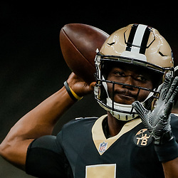 Aug 30, 2018; New Orleans, LA, USA; New Orleans Saints quarterback J.T. Barrett IV (5) before a preseason game against the Los Angeles Rams at the Mercedes-Benz Superdome. Mandatory Credit: Derick E. Hingle-USA TODAY Sports