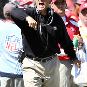 Head Coach Jim Harbaugh during an NFL football game between the Dallas Cowboys and the San Francisco 49ers at Candlestick Park on Sunday, Sept. 18, 2011 in San Francisco, CA. (Photo/Alex Menendez)