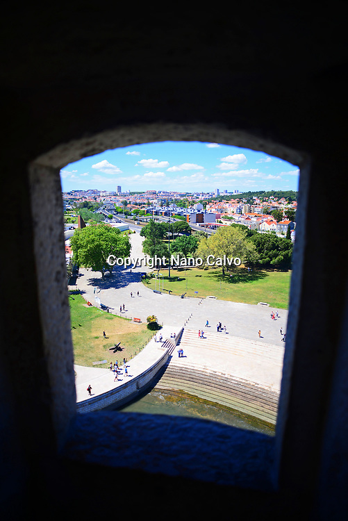 Views from Belém Tower or Tower of St Vincent, a fortified tower located in the civil parish of Santa Maria de Belém in the municipality of Lisbon, Portugal.