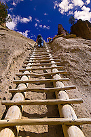 Climbing ladder to Alcove House, Bandalier National Monument (archaeological site), Los Alamos, New Mexico