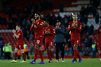 Football - 2019 / 2020 Premier League - Liverpool vs. Everton<br /> <br /> Virgil van Dijk and Joe Gomez of Liverpool applaud the Kop at the end of the game , at Anfield.<br /> <br /> COLORSPORT/ALAN MARTIN