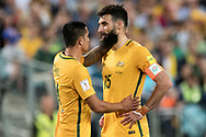 SYDNEY, NSW- NOVEMBER 15: Australian Tim Cahill (4) wishes Australian Mile Jedinak (15) all the best for his penalty shot at the Soccer World Cup Qualifier between Australia and Honduras on November 10, 2017. (Photo by Steven Markham/Icon Sportswire)