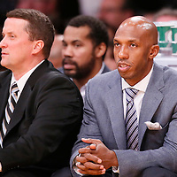 17 November 2013: Detroit Pistons shooting guard Chauncey Billups (1) is seen on the bench during the Los Angeles Lakers 114-99 victory over the Detroit Pistons at the Staples Center, Los Angeles, California, USA.