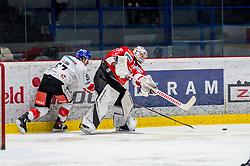 10.03.2019, Ice Rink, Znojmo, CZE, EBEL, HC Orli Znojmo vs HC TWK Innsbruck Die Haie, Qualifikationsrunde, 54. Runde, im Bild v.l. Andrew Clark (HC TWK Innsbruck) Teemu Tapio Lassila (HC Orli Znojmo) // during the Erste Bank Eishockey League 54th round match between HC Orli Znojmo and HC TWK Innsbruck Die Haie at the Ice Rink in Znojmo, Czech Republic on 2019/03/10. EXPA Pictures © 2019, PhotoCredit: EXPA/ Rostislav Pfeffer