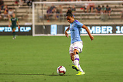 Manchester City defender Demi Stokes (3) dribbles the ball upfield in a game against the North Carolina Courage during an International Champions Cup women's soccer game, Thurday, Aug. 15, 2019, in Cary, NC. The North Carolina Courage defeated Manchester City Women 2-1.  (Brian Villanueva/Image of Sport)