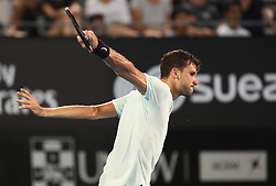 SYDNEY, Jan. 8, 2018  Grigor Dimitrov of Bulgaria hits a return during the FAST4 of Sydney International against Lleyton Hewitt of Australia in Sydney, Australia, on Jan. 8, 2018. Dimitrov won 2-0. (Credit Image: © Bai Xuefei/Xinhua via ZUMA Wire)