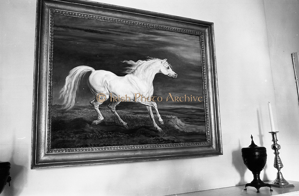 """19/08/1966<br /> 08/19/1966<br /> 19 August 1966<br /> Copy of """"Painting of Napoleon's Horse"""" in the Drawing room of the U.S. Ambassador's Residence in the Phoenix Park, Dublin."""