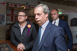 © Licensed to London News Pictures . 05/06/2014 . Newark , Nottinghamshire , UK . UKIP leader NIGEL FARAGE in the Queens Head pub in Newark today (Thursday 5th June 2014) as voting takes place in the Newark by-election , following the resignation of incumbent Patrick Mercer . Photo credit : Joel Goodman/LNP