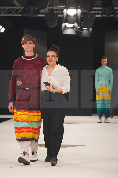 © Licensed to London News Pictures. 02/06/2015. London, UK. Ella Nisbett, Nottingham Trent University, winner of the Menswear Award and Stuart Peters Visionary Knitwear Award. Graduate Fashion Week 2015 concludes with the Gala Awards Show at the Old Truman Brewery, London. Photo credit : Bettina Strenske/LNP