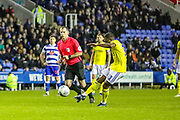 Goal Birmingham City midfielder Jérémie Bela (11) scores a goal from a free kick 1-2 during the EFL Sky Bet Championship match between Reading and Birmingham City at the Madejski Stadium, Reading, England on 7 December 2019.