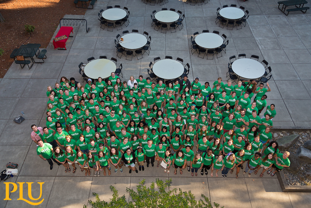 Student leadership group photo and dinner at PLU on Wednesday, Aug. 27, 2014. (Photo/John Froschauer)