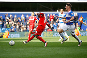 Charlton Athletic striker Igor Vetokele (14) has a shot on goal during the Sky Bet Championship match between Queens Park Rangers and Charlton Athletic at the Loftus Road Stadium, London, England on 9 April 2016. Photo by Andy Walter.