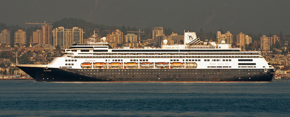 Holland America Line's Zaandam sailing past North Vancouver, British Columbia, Canada on an Autumn afternoon in October 2012. ..This Image was Published on Ship Parade on October 14,2012.   http://www.shipparade.com. ..Image Link: http://www.shipparade.com/az/Zaandam/Zaandam_2012-10-09_02.jpg