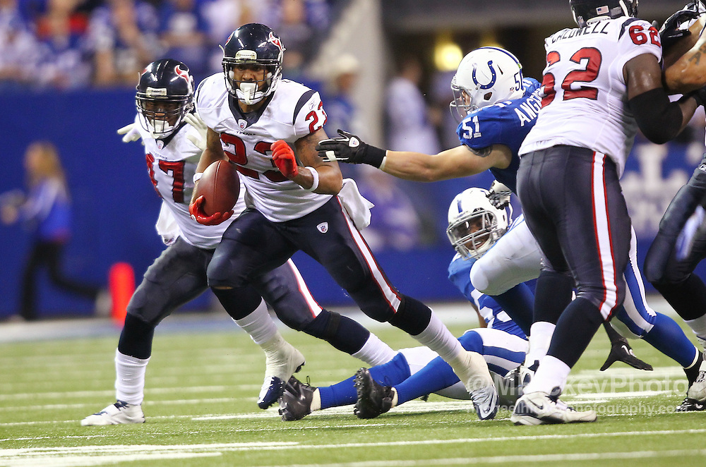 Dec. 22, 2011; Indianapolis, IN, USA; Houston Texans running back Arian Foster (23) runs the ball against the Indianapolis Colts at Lucas Oil Stadium. Mandatory credit: Michael Hickey-US PRESSWIRE