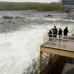 The public views the Shad migration on the Connecticut River at the Holyoke Dam in Holyoke, Massachusetts.