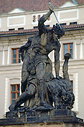 Statue above the main entrance gate of  Hradcany Castle, Prague