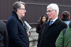 © Licensed to London News Pictures. 01/02/2016. London, UK. . Baron PETER MANDELSON and BARON ALISTAIR DARLING in conversation in the street outside the Houses of Parliament. Photo credit: Ray Tang/LNP