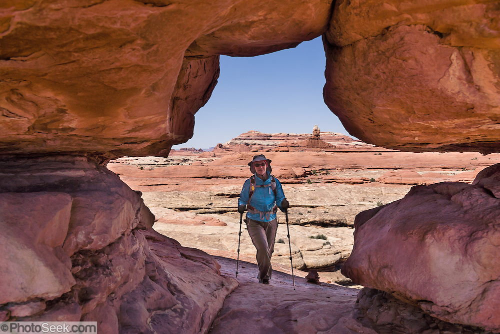 A hiker passes through the arch on Peek-a-Boo Trail, in Needles District of Canyonlands National Park, Utah, USA. The Permian rocks of the Needles District formed where red alluvial fans from the east interwove with white dunes from the west, making sandstone spires striped red and white.