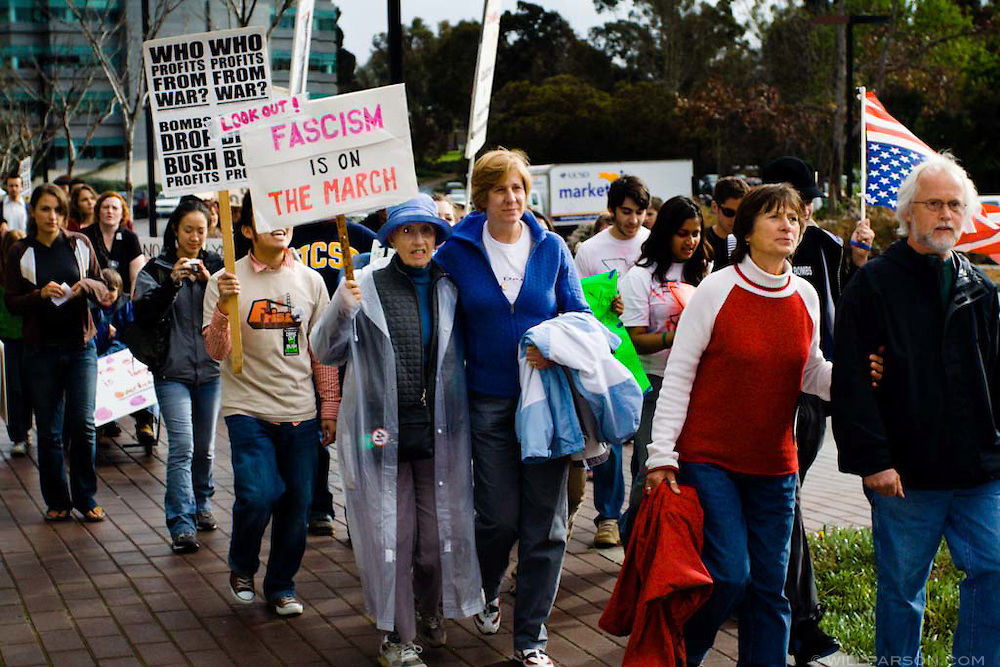 Anti-war activist Cindy Sheehan marches with Iraq War protestors during the Day of Action event on the University of California, San Diego campus on March 03, 2006.