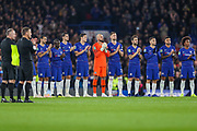 Chelsea observe a minute's applause for the Leicester City helicopter tragedy during the EFL Cup 4th round match between Chelsea and Derby County at Stamford Bridge, London, England on 31 October 2018.