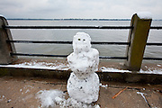 CHARLESTON, SC - February 13: A snowman along the waterfront of Charleston harbor February 13, 2010 during a rare snow storm in Charleston, SC. About 3-inches of snow fell on the Charleston area, the first significant snow in 20-years.    (Photo Richard Ellis/Getty Images)