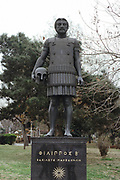 Philip II of Macedon (382-336 BC) father of Alexander the Great.  Statue showing Philip in body armour and carrying helmet. Thessaloniki