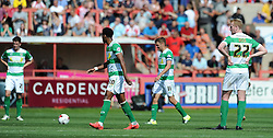 Dejection for Yeovil Town's Mark Beck as his side concede a second goal to trail Exeter City 2-0 at half time. - Photo mandatory by-line: Harry Trump/JMP - Mobile: 07966 386802 - 08/08/15 - SPORT - FOOTBALL - Sky Bet League Two - Exeter City v Yeovil Town - St James Park, Exeter, England.