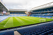 General view inside Ibrox Stadium, Glasgow, Scotland before the Europa League Play Off leg 2 of 2 match between Rangers FC and Legia Warsaw on 29 August 2019.