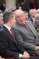 King Felipe VI of Spain, King Juan Carlos of Spain attend National Sport Awards 2017 at El Pardo Royal Palace on January 10, 2019 in Madrid, Spain