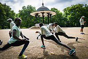 Members of the Refugee Athletes Team take part in a training session in London ahead of the World Athletics Championships, which begin today.