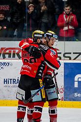 01.01.2018, Ice Rink, Znojmo, CZE, EBEL, HC Orli Znojmo vs Fehervar AV 19, 35. Runde, im Bild v.l. Jan Lattner (HC Orli Znojmo) Petr Mrazek (HC Orli Znojmo) // during the Erste Bank Icehockey League 35th round match between HC Orli Znojmo and Fehervar AV 19 at the Ice Rink in Znojmo, Czech Republic on 2018/01/01. EXPA Pictures © 2018, PhotoCredit: EXPA/ Rostislav Pfeffer