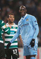 MANCHESTER, ENGLAND - Thursday, March 15, 2012: Manchester City's Mario Balotelli in action against Sporting Clube de Portugal during the UEFA Europa League Round of 16 2nd Leg match at City of Manchester Stadium. (Pic by David Rawcliffe/Propaganda)