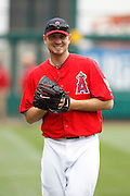 ANAHEIM, CA - MAY 22:  Kevin Jespen #40 of the Los Angeles Angels of Anaheim smiles while warming up before the game between the Atlanta Braves and the Los Angeles Angels of Anaheim on Sunday, May 22, 2011 at Angel Stadium in Anaheim, California. The Angels won the game 4-1. (Photo by Paul Spinelli/MLB Photos via Getty Images) *** Local Caption *** Kevin Jespen