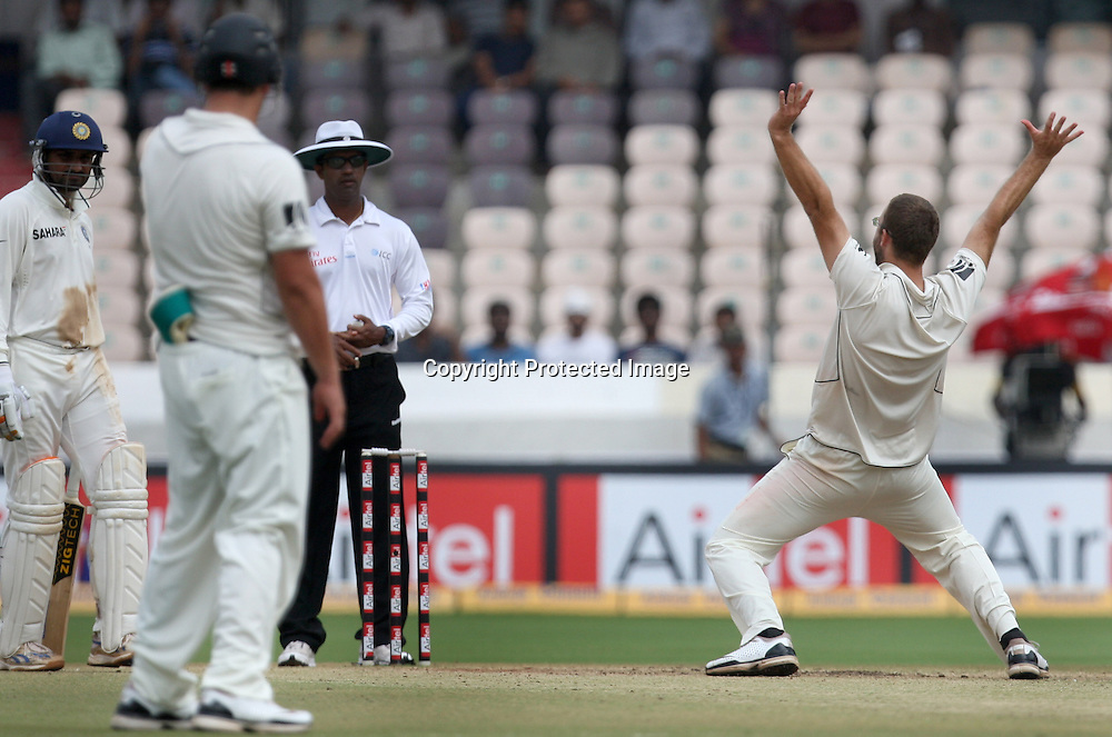 New Zealand bowler Daniel Vettori appile against Indian batsman Sreesanth during the 2nd test match Indian vs New Zealand day-4 Played at Rajiv Gandhi International Stadium, Uppal, Hyderabad, 15 November 2010 (5-day match)