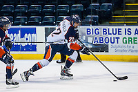 KELOWNA, CANADA - AUGUST 30: Quinn Benjafield #22 of the Kamloops Blazers skates with the puck against the Kelowna Rockets  on August 30, 2014 during pre-season at Prospera Place in Kelowna, British Columbia, Canada.   (Photo by Marissa Baecker/Shoot the Breeze)  *** Local Caption *** Quinn Benjafield;