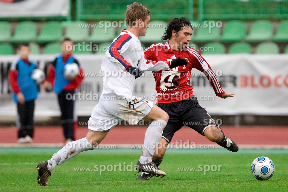 David Tomazic Seruga of Rudar vs Mario Lucas Horvat of Interblock at football match of Round 17 of Slovenian first league between NK Interblock and NK Rudar Velenje,  on November 7, 2009, in ZAK, Ljubljana, Slovenia.  Interblock won 3:1. (Photo by Vid Ponikvar / Sportida)