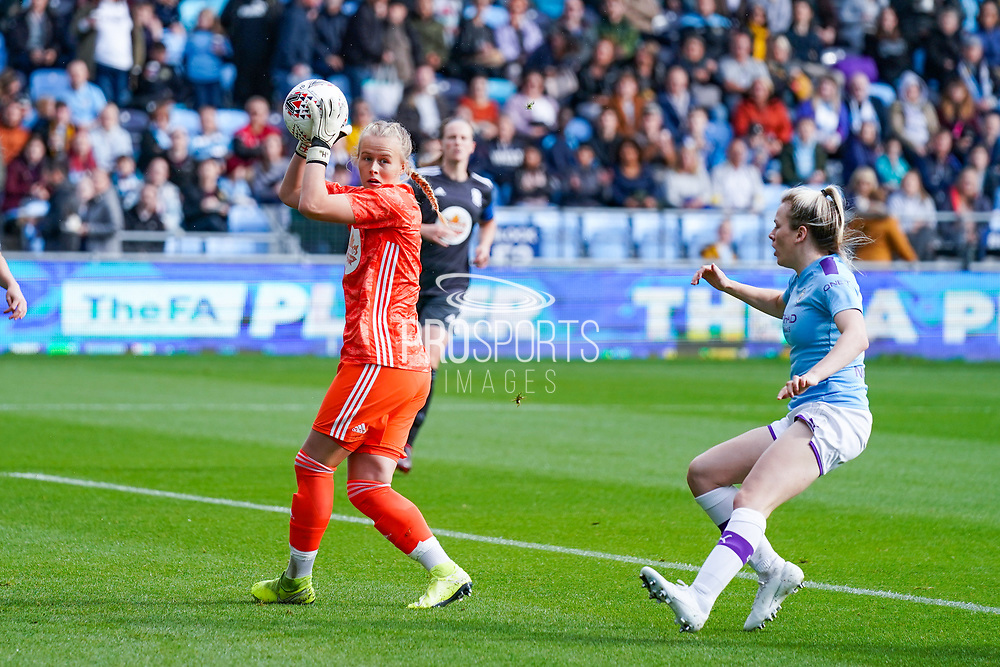 Birmingham City Women goalkeeper Hannah Hampton (1) in action during the FA Women's Super League match between Manchester City Women and BIrmingham City Women at the Sport City Academy Stadium, Manchester, United Kingdom on 12 October 2019.